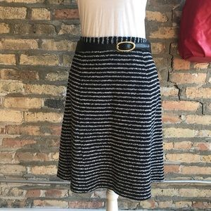 Theory Black & White Woven Skirt w/ Pockets